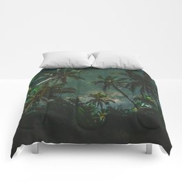 Tropical Palm Trees Night Star Sky Milky Way Carribean Night Sky Comforters