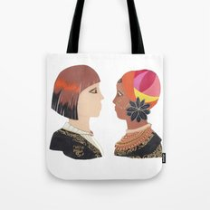 Indigenous African Society with Modern Day Civilization Tote Bag