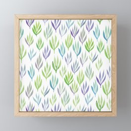 Watercolour Ferns | Purple and Green Framed Mini Art Print