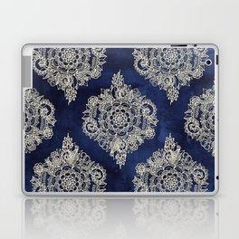 Cream Floral Moroccan Pattern on Deep Indigo Ink Laptop & iPad Skin