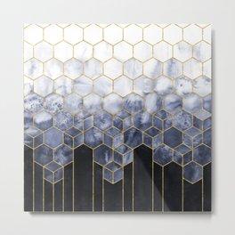 Cubes of Gold - Indigo Nights Metal Print