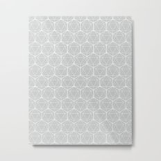 Icosahedron Soft Grey Metal Print