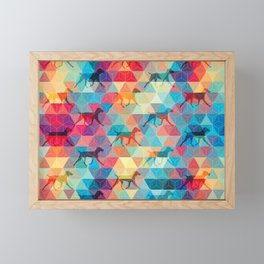 WEIMARANER AND TRIANGLES Framed Mini Art Print