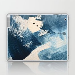 Against the Current: A bold, minimal abstract acrylic piece in blue, white and gold Laptop & iPad Skin