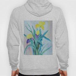 yellow iris on a blue background Hoody