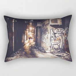 Lower East Side - Midnight Warmth on a Snowy Night Rectangular Pillow