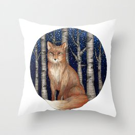 Fox and Forest II Throw Pillow