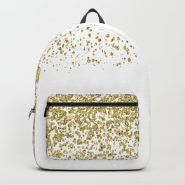 Sparkling gold glitter confetti on simple white background - Pattern Backpack