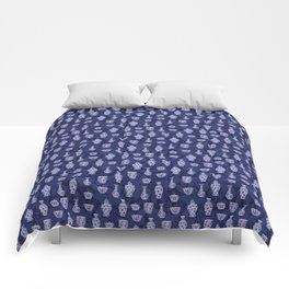 Blue & White Chinoiserie/ Delftware Pottery Pattern Comforters