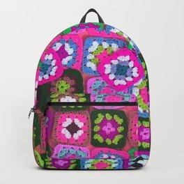 Pink crochet vintage granny squares craft Backpack