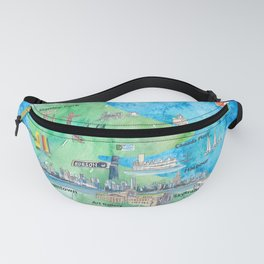 Vancouver British Columbia Canada Travel Poster Favorite Map Fanny Pack
