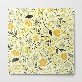 Yellow, Green & Black Floral/Botanical Pattern Metal Print