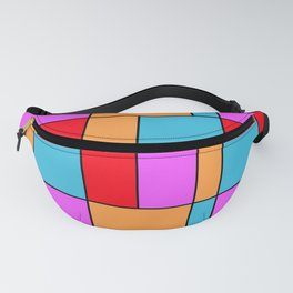 An abstract geometric pattern . Cage orange , blue , red . Fanny Pack