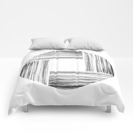 Black and Gray Ink Stripe Basket Weave Circle Comforters