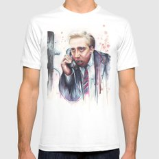 Nicolas Cage Vampire Meme LARGE White Mens Fitted Tee