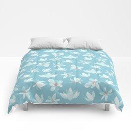 Elegant pastel blue white coral modern floral illustration Comforters
