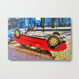 Upside down red car Metal Print