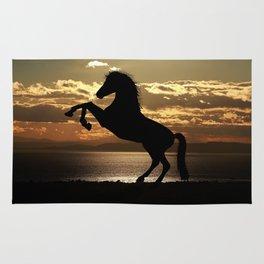 Horse Rearing At Sunset Rug