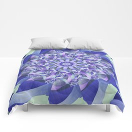 Ever Expanding Mandala in Blue and Purple Comforters