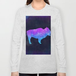 BUFFALO IN SPACE // Animal Graphic Art // Watercolor Canvas Painting // Modern Minimal Cute Long Sleeve T-shirt