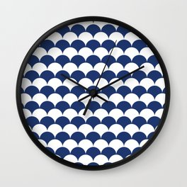 Navy Fan Shell Pattern Wall Clock