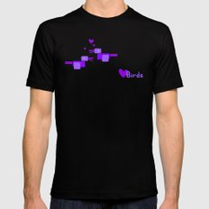 Love Birds-Purple Black Mens Fitted Tee MEDIUM