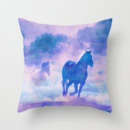 Horses run Throw Pillow