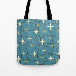 Mid Century Modern Cosmic Star Pattern 693 Beige Brown Olive and Blue Tote Bag