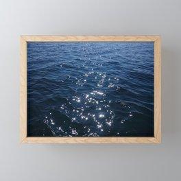Sparkly Deep Blue Sea Waves Framed Mini Art Print