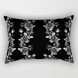 simple watercolor roses with tendrils seamless pattern black white on black Rectangular Pillow