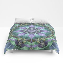 Ribbon Mandala in Blue and Purple Comforters