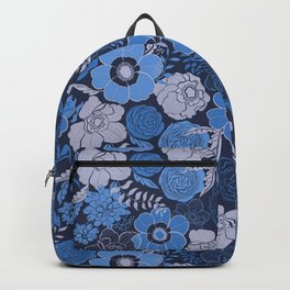 blue anemones and roses Backpack