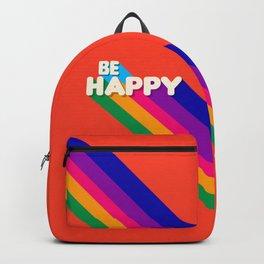 BE HAPPY - rainbow retro typography Backpack