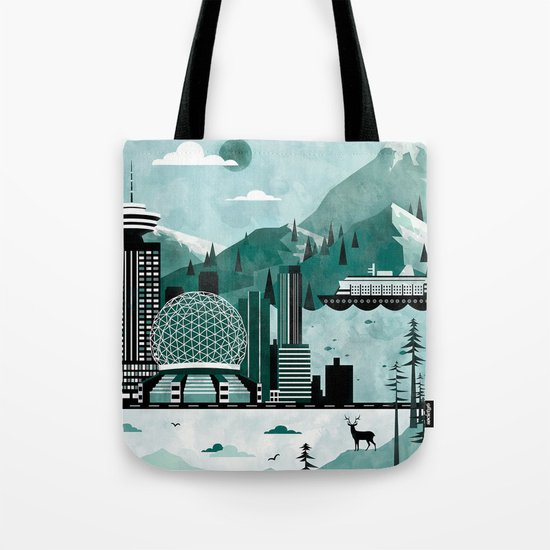 Vancouver Travel Poster Illustration Tote Bag