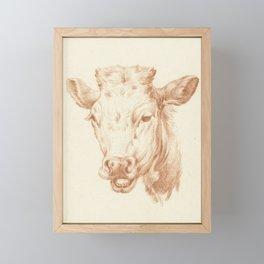 Vintage Cow Illustration Framed Mini Art Print