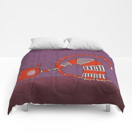Orange Curious Cat IV Comforters