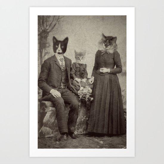 Family Picnic -Cat Art - Cat painting - Cat watercolor - Cat artwork - Cat print - Cat picture Art Print
