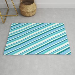 Teal, Light Sky Blue, Turquoise & Mint Cream Colored Striped Pattern Rug