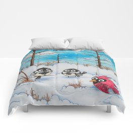 Winter: Two Chickadees and a Cardinal Comforters