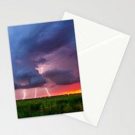 Quad Strike - Lightning Rains Down on the Oklahoma Landscape Stationery Cards