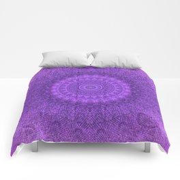 Sunflower Plum Boho Feather Pattern \\ Aesthetic Vintage Bohemian \\ Dark Violet Purple Color Scheme Comforters