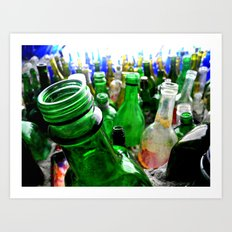 A wall of bottles Art Print