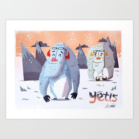 :::Happy Yetis::: Art Print
