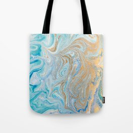 Marble turquoise gold silver Tote Bag