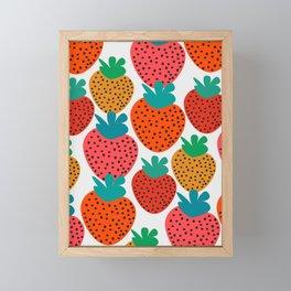 Funny strawberries Framed Mini Art Print