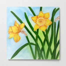 Daffodil Flowers Watercolor Hand-painted Botanical Artwork Metal Print