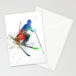 woman skier freestyler jumping Stationery Cards