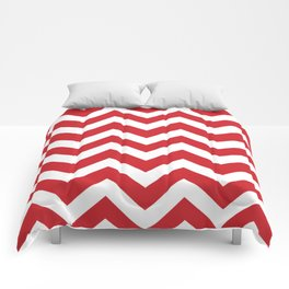 Fire engine red - red color - Zigzag Chevron Pattern Comforters