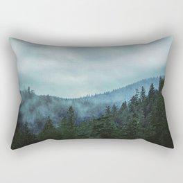 Misty Forest Mountains Trees Rectangular Pillow