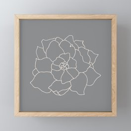 Gardenia Line Art - Grey Framed Mini Art Print